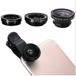 Objectif Pince 3 en 1 pour Smartphone Universel Macro Fisheye Grand Angle Metal Pochette Demontable