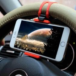 Support Voiture Volant pour Smartphone Reglable Universel 360 Rotatif Noir/Rouge