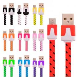 Câble Noodle Type C Pour Smartphone Chargeur Android USB 1,5m Connecteur Tréssé