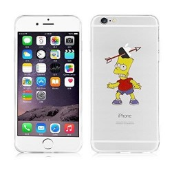Coque Silicone IPHONE 6/6S Bart Les Simpson APPLE Pomme Fleche Cartoon Protection Gel Souple