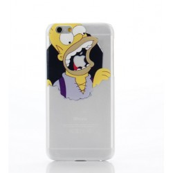 Coque Silicone IPHONE 6/6S Homer n°1 Les Simpson APPLE Mange Pomme Cartoon Protection Gel Souple