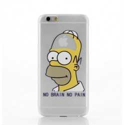 Coque Silicone IPHONE 5/5S/SE Homer n°5 Les Simpson APPLE No Pain No Brain Cerveau Pomme Protection Gel Souple Housse Etui