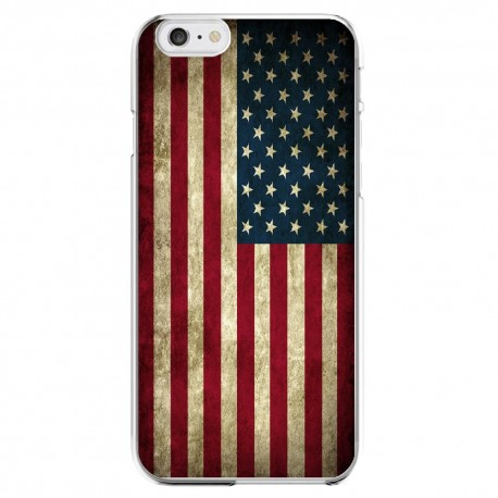 Coque Silicone IPHONE Drapeau Etats-Unis USA Américain Vintage APPLE Transparente Protection Gel Housse Etui
