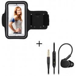 Pack Sport pour Smartphone (Brassard de Sport + Ecouteurs Sport INTRA-AURICULAIRE avec Micro) Courir