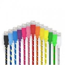 Cable Tressé pour IPHONE 5S/5C 3m Chargeur Connecteur Lighting USB APPLE Tissu Tissé Lacet Fil Nylon