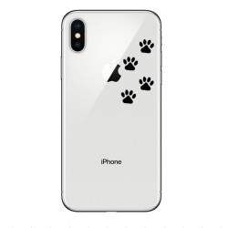 Coque Silicone IPHONE Xs Pattes de Chat Chien Fun APPLE Empreintes Traces Pomme Transparente Protection Gel Souple