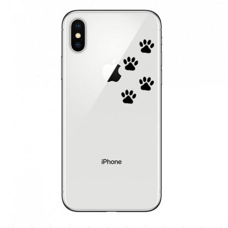 Coque Silicone IPHONE X Pattes de Chat Chien Fun APPLE Empreintes Traces Pomme Transparente Protection Gel Souple