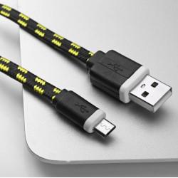Cable Tressé 1m pour SAMSUNG Galaxy A6 Smartphone Android Chargeur Connecteur Micro-USB Tissu Tissé Lacet Fil Nylon Universel