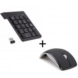 Pack Peripherique pour PC (Souris Pliable Optique Sans Fil + Pavé numerique Sans fil 18 Touches) (NOIR)