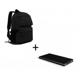 Pack pour Smartphone (Batterie Plate 6000 mAh 2 ports + Sac à dos avec prise USB intégré) (NOIR)