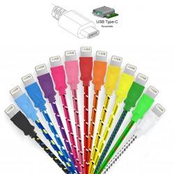 Cable Metal Tressé Type C pour SONY Xperia XZ 3m Chargeur USB Réversible Connecteur Tissu Tissé Nylon