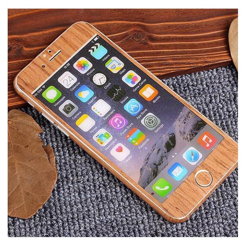 sticker autocollant iphone 6 6s int gral apple effet bois avant arri re shot case accessoires. Black Bedroom Furniture Sets. Home Design Ideas