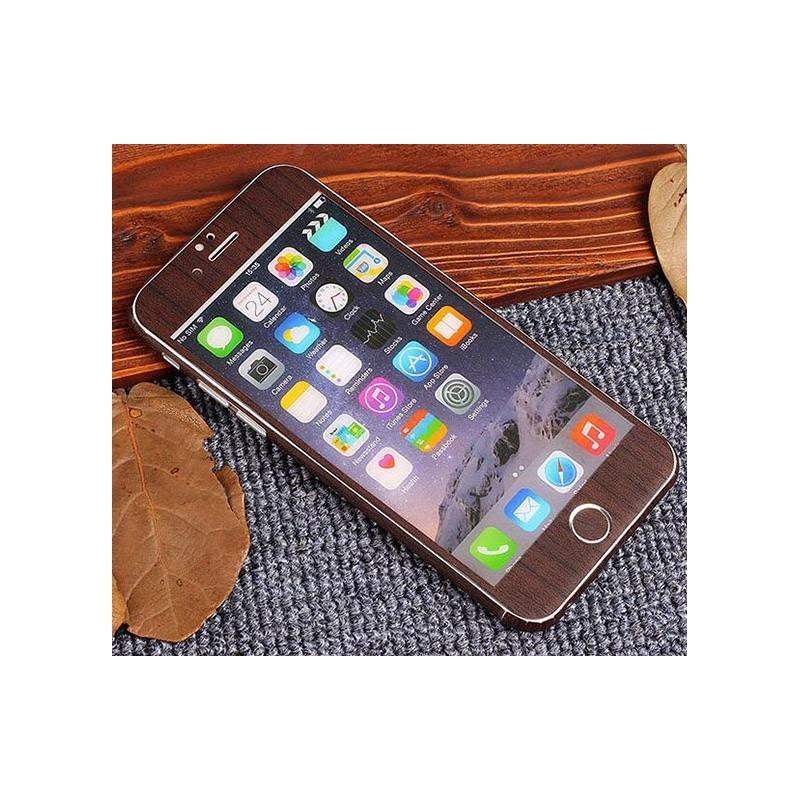 sticker autocollant iphone 6 6s int gral apple effet bois avant arri re shot case accessoires. Black Bedroom Furniture Sets. Home Design Ideas