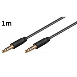 Cable 1m pour HTC Desire 610 Voiture Musique Audio Double Jack Male 3.5 mm NOIR