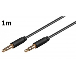 Cable 1m pour HTC one mini Voiture Musique Audio Double Jack Male 3.5 mm NOIR