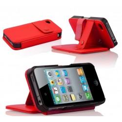 Coque Portefeuille Stand IPHONE 4/4S Béquille Attache ceinture