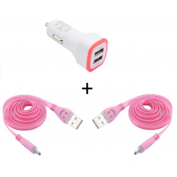 Pack Voiture pour JBL Flip 4 Smartphone Micro USB (2 Cables Smiley + Double Adaptateur LED Allume Cigare)