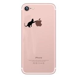 Coque Silicone IPHONE SE 2020 Chat Fun APPLE Cat Noir Joue Pomme Transparente Protection Gel Souple
