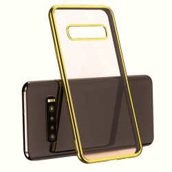 Pack Protection pour SAMSUNG Galaxy S10+ PLUS (Coque Chrome Silicone + Film Verre Trempe)