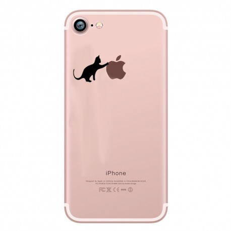Coque Silicone IPHONE 7 Chat Fun APPLE Cat Noir Joue Pomme Transparente Protection Gel Souple