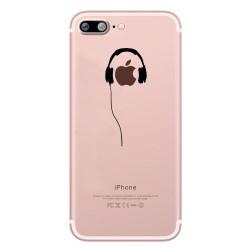 Coque Silicone IPHONE X Casque Fun APPLE Ecouteurs Pomme Musique Transparente Protection Gel Souple