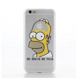 Coque Silicone IPHONE Homer n°5 Les Simpson APPLE No Pain No Brain Cerveau Pomme Cartoon Protection Gel Souple Housse Etui