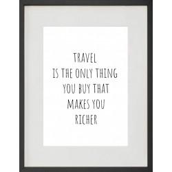 """Cadre Photo """"Travel is the only thing"""" 30x40cm avec Passe Partout Tableau Bois Verre"""