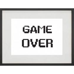 """Cadre Photo """"Game over"""" 30x40cm avec Passe Partout Tableau Bois Verre"""