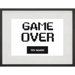 """Cadre Photo """"Game over try again"""" 30x40cm avec Passe Partout Tableau Bois Verre"""