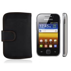 Coque Portefeuille Wallet SAMSUNG Galaxy Y (S5360) Noir Housse Etui