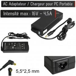 Chargeur Générique pour PC Portable 16V - 4.5A - Embout 5.5*2.5 mm Alimentation AC Adaptateur