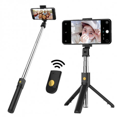 Selfie Stick Metal avec Trepied pour Smartphone Perche Android IOS Telecommande Sans Fil Bluetooth Photo (NOIR)