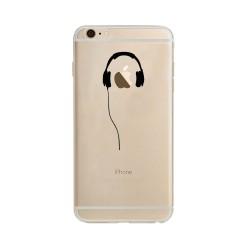 Coque Silicone IPHONE 6/6S Casque Fun APPLE Ecouteurs Pomme Musique Transparente Protection Gel Souple