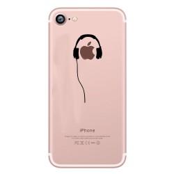 Coque Silicone IPHONE 7 Casque Fun APPLE Ecouteurs Pomme Musique Transparente Protection Gel Souple