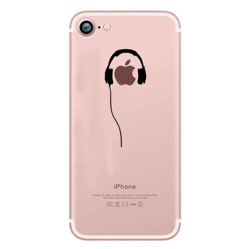 coque silicone iphone 7 casque fun apple ecouteurs pomme musique transparente protection gel. Black Bedroom Furniture Sets. Home Design Ideas