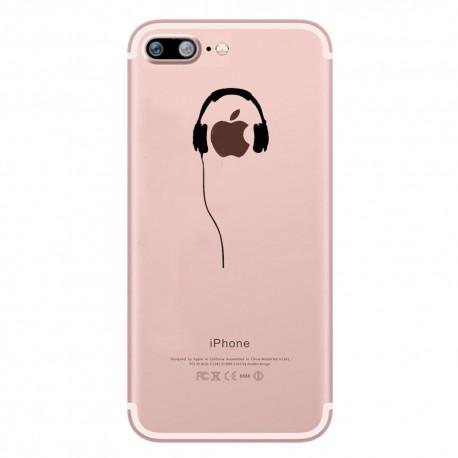coque silicone iphone 7 plus casque fun apple ecouteurs pomme musique transparente. Black Bedroom Furniture Sets. Home Design Ideas