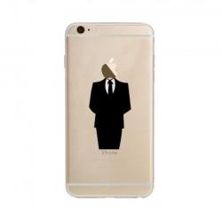 Coque Silicone IPHONE 6/6S Costume Fun APPLE Homme D'affaire Classe 007 Pomme Transparente Protection Gel Souple