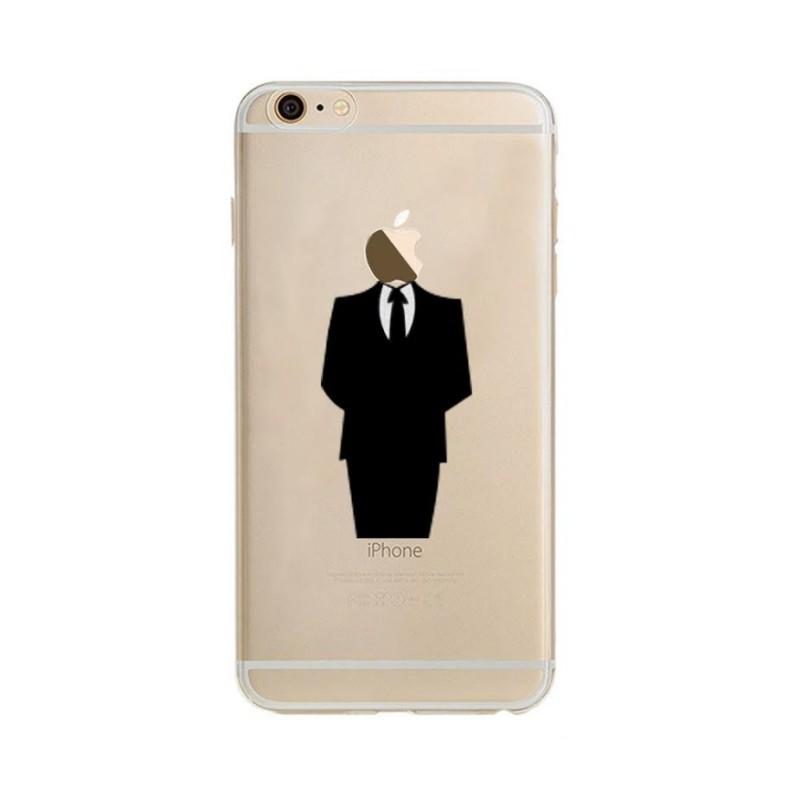 coque silicone iphone 66s costume fun apple homme d affaire classe 007 pomme transparente protection gel souple