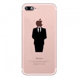 Coque Silicone IPHONE 7 PLUS (+) Costume Fun APPLE Homme D'affaire Classe 007 Pomme Transparente Protection Gel Souple